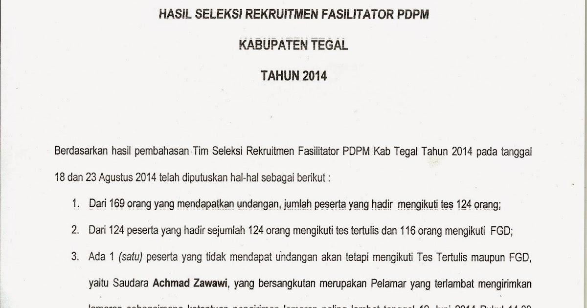 Pdpm Kab Tegal Berita Acara Hasil Seleksi Rekruitmen Fasilitator Pdpm