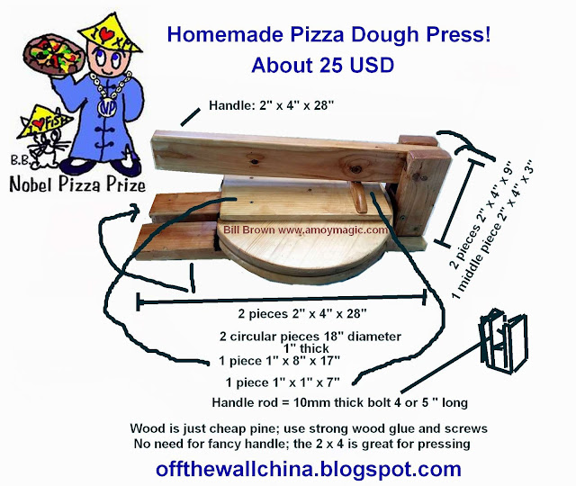 Easy DIY Homemade wooden pizza dough press make your own