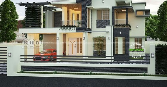 2320 square feet 3 bedroom decorative house kerala home for The space scape architects thrissur kerala