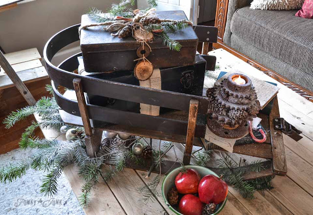 vintage tool box on antique sled
