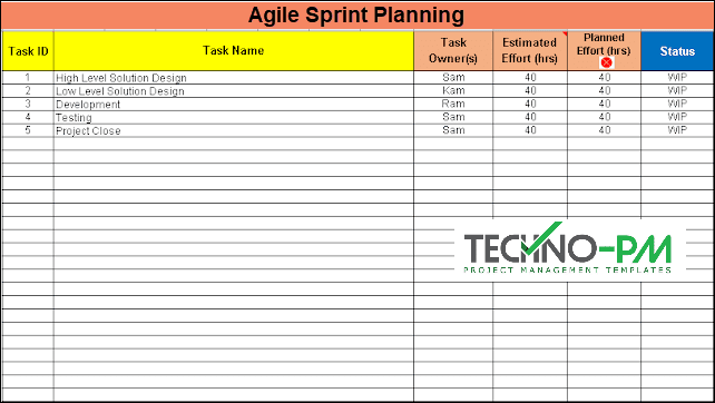 Agile Sprint Planning, sprint planning excel template