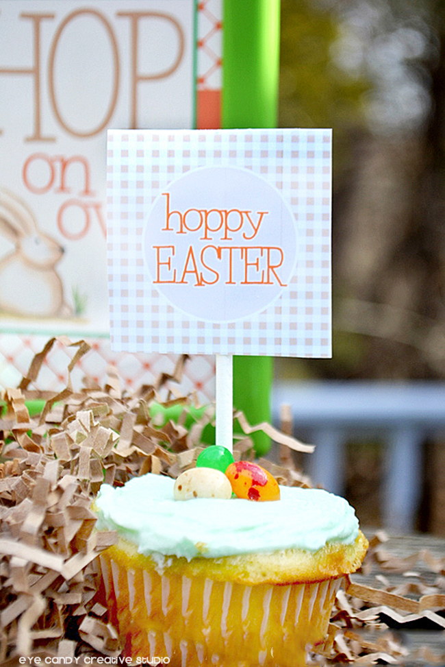 hoppy easter cupcake topper, easter topper, outdoor easter party