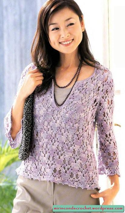 5a4951225 TEJER GANCHILLO CROCHET  Blusa de manga larga a crochet o ganchillo