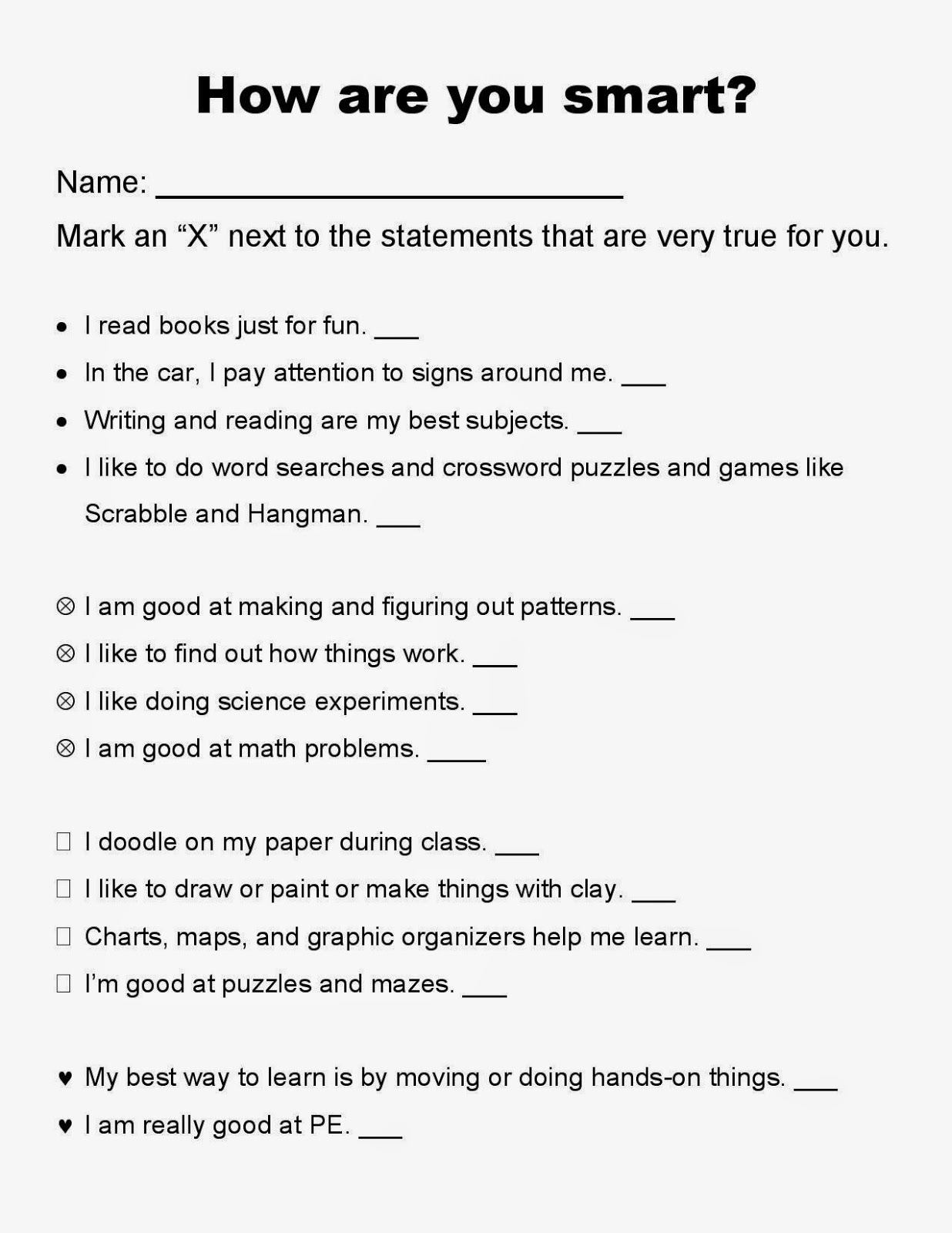 Multiple Intelligences Lesson, Survey questionairre, Multiple Intelligence Key and  Worksheet for elementary students