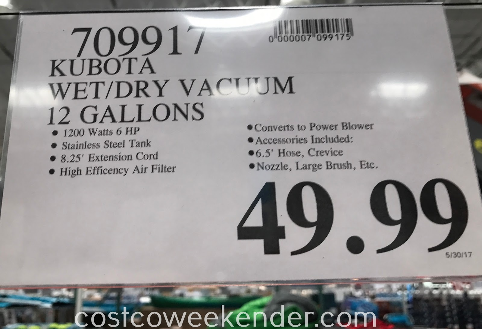 Deal for the Kubota 12 Gallon Wet/Dry Stainless Steel Vacuum at Costco