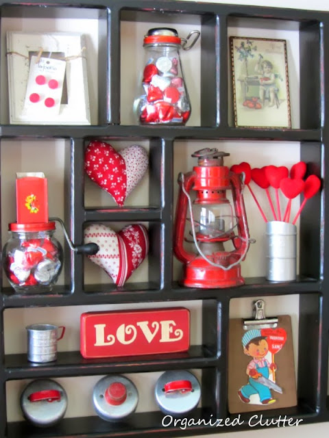 Valentine's Day Shadow Box Display www.organizedclutterqueen.blogspot.com