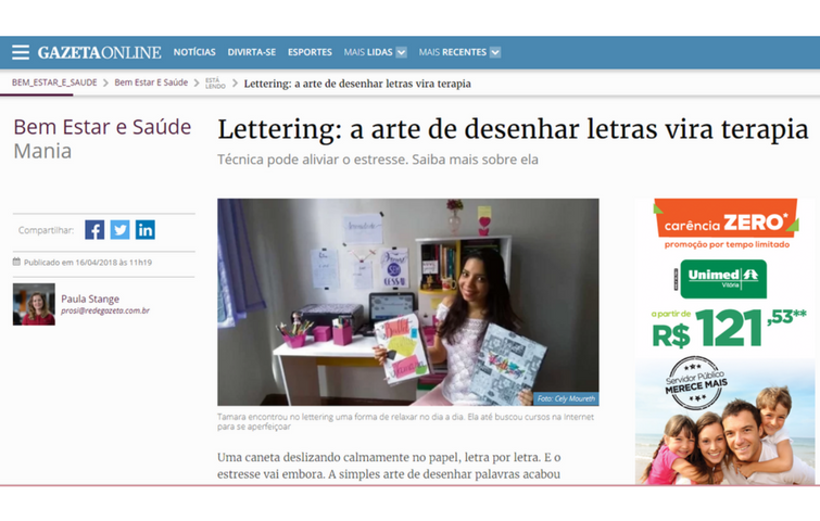 Notícia sobre Lettering no Jornal A Gazeta - Tamaravilhosamente1