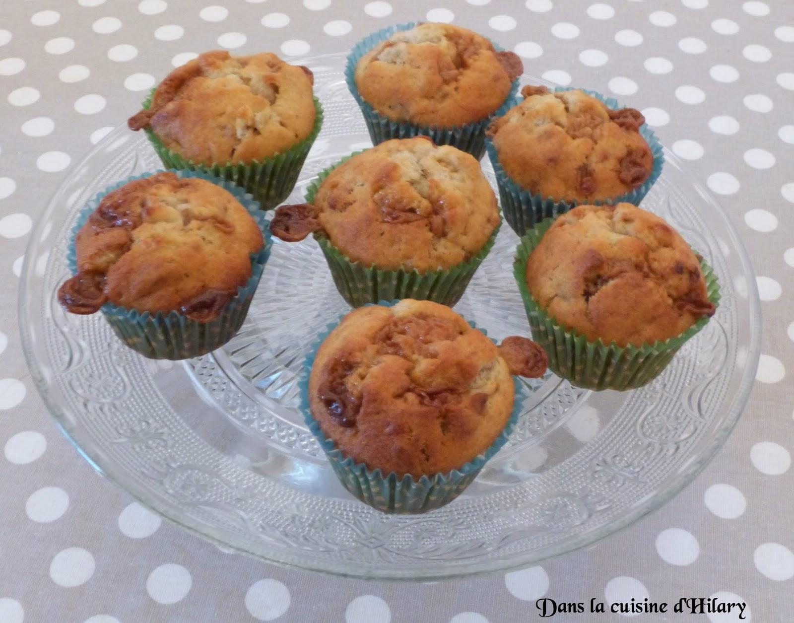 Muffin banane, caramel et noix