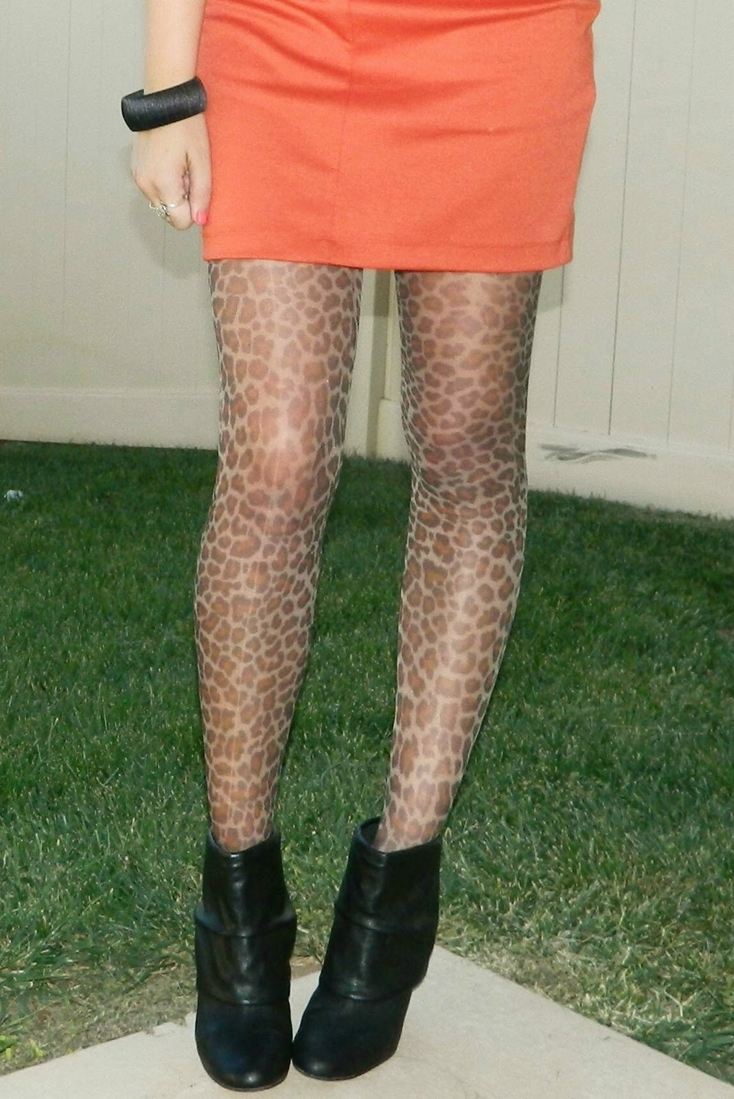 Black booties, leopard print tights