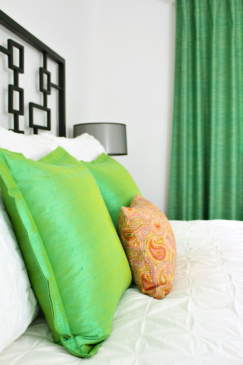 Green silk pillows