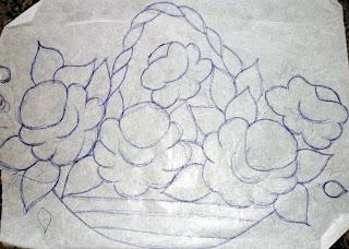 risco de cesta com rosas