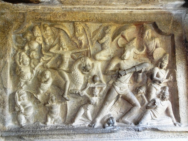 Mahabalipuram - Sculpture of Durga slaying demon- Pallava architecture