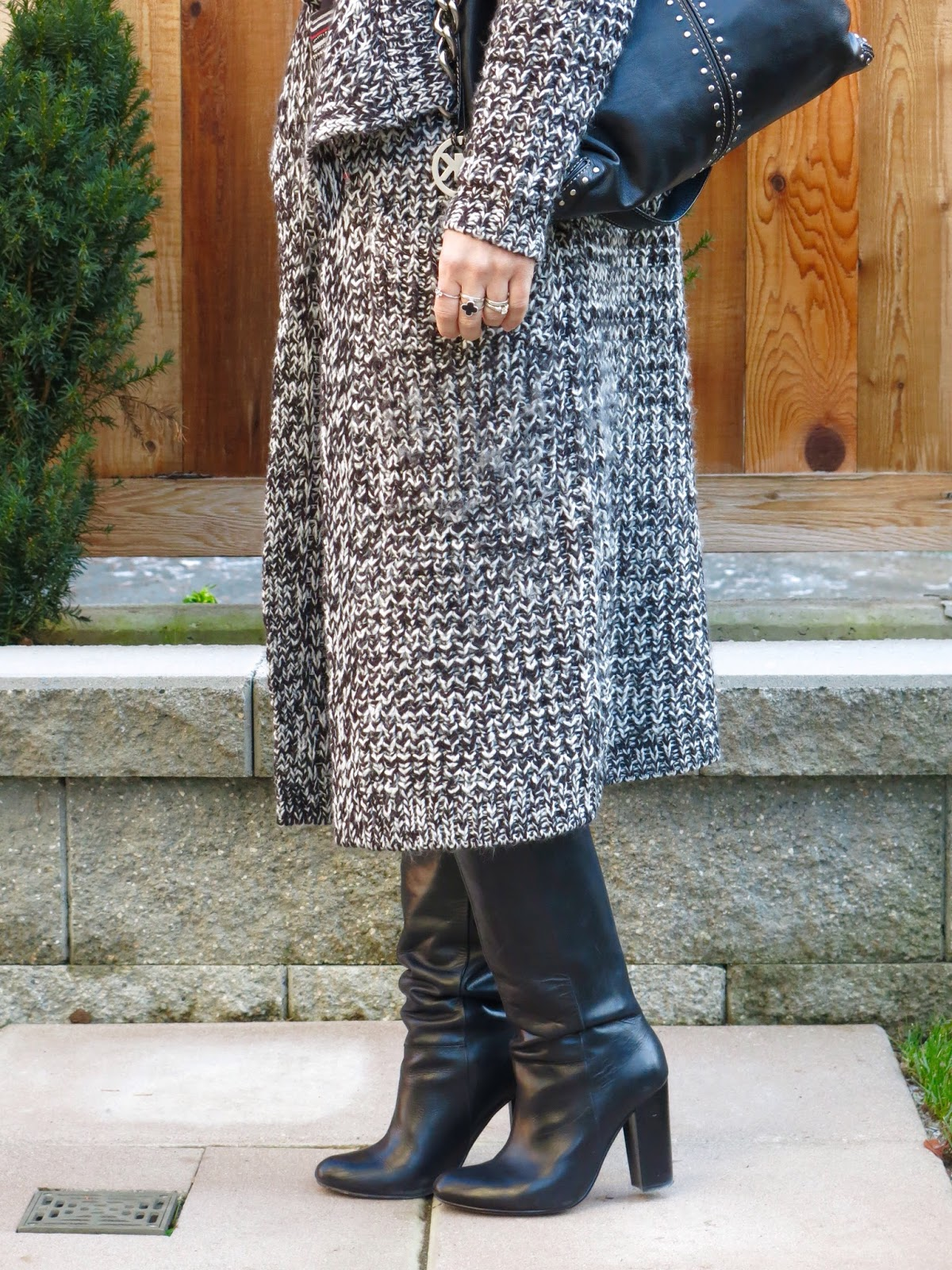knee boots, long cardigan, and Michael Kors studded bag