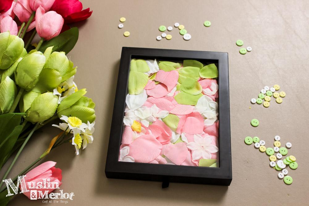 Spring Craft - Petal Filled Shadow Box - Muslin and Merlot