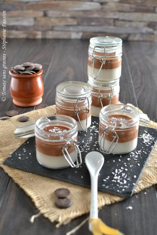 Panna cotta coco-chocolat noir