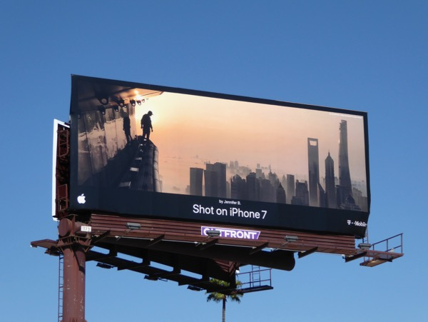 Shot iPhone 7 misty city skyline billboard
