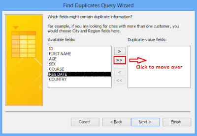 Click to transfer the duplicate value fields