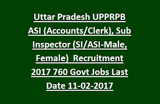 Uttar Pradesh UPPRPB ASI, Sub Inspector (SI-Male, Female) Recruitment 2017 760 Govt Jobs Online Last Date 11-02-2017