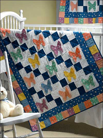 Butterflies Are Free Crib Quilt designed by Judith Sandstrom of FreePatterns