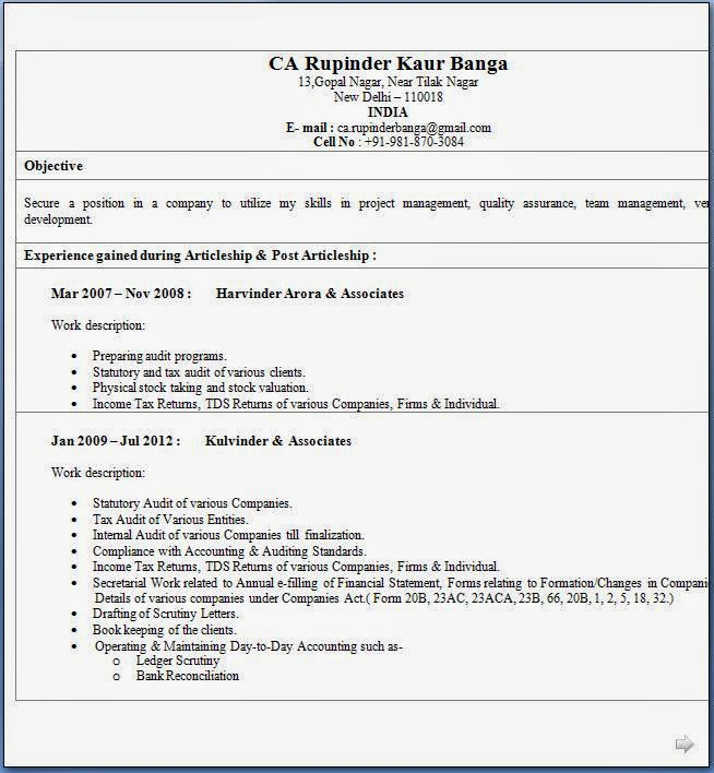 Resume Format For Freshers For Accountant: CA Fresher CV Format