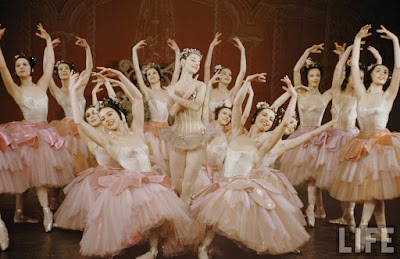 Scene from the Nutcracker Ballet 1954 with ballerinas in pink ballet costumes