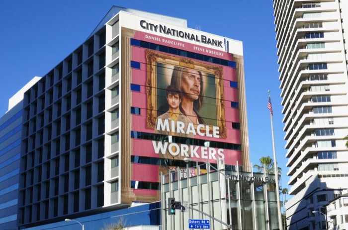 Miracle Workers series launch billboard