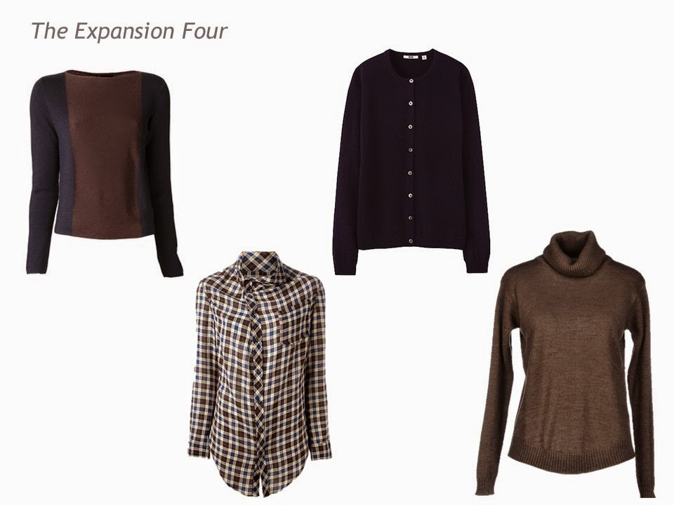 Expansion Four garments in navy and brown - color blocked sweater, plaid blouse, cardigan and turtleneck