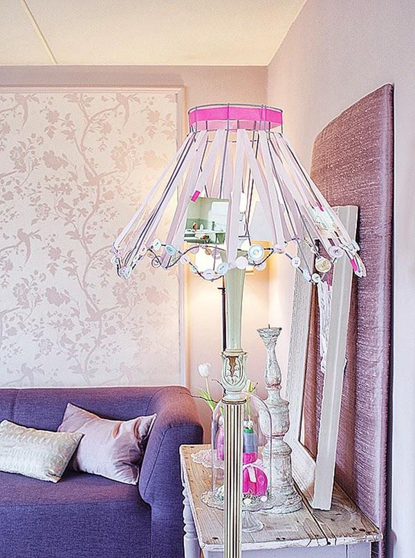 Pink and Lilac Shabby Chic Ribbon Lamp Shade DIY