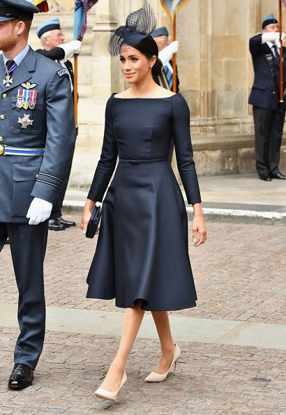 Countess Sophie wore Suzannah Wave Textured Stripe Dress, Meghan Markle wore Dior navy fit and flare dress with bateau neckline. Kate Middleton