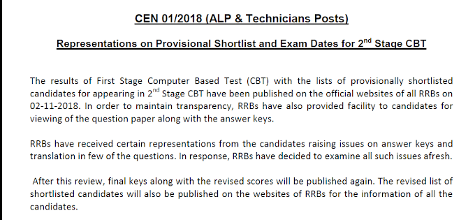 RRB ALP 2018 second stage CBT exam date postponed, now scheduled on 24th December 2018