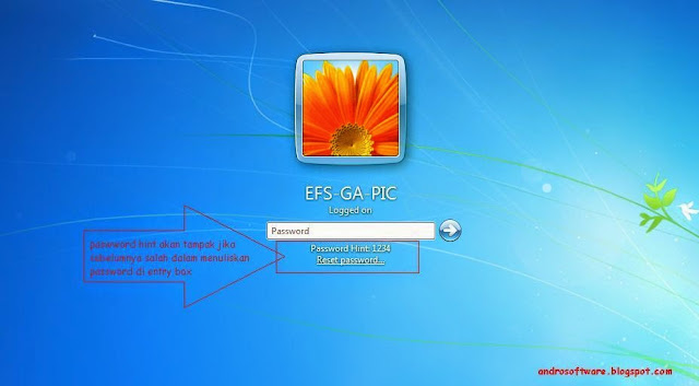 gambar password hint di windows 7