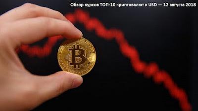 Обзор курсов ТОП-10 криптовалют к USD — 12 августа 2018