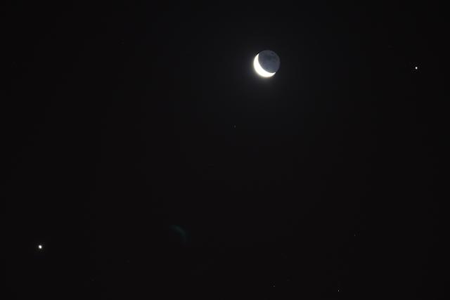 The moon Venus and Jupiter