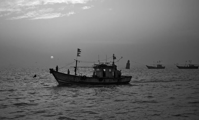 monochrome monday, black and white weekend, fishing boats, arabian sea, sassoon docks, mumbai, india,