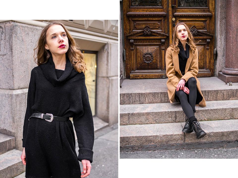 Black jumper dress and camel coat outfit - Musta neulemekko ja kamelitakki, muoti, tyyli, asuinspiraatio