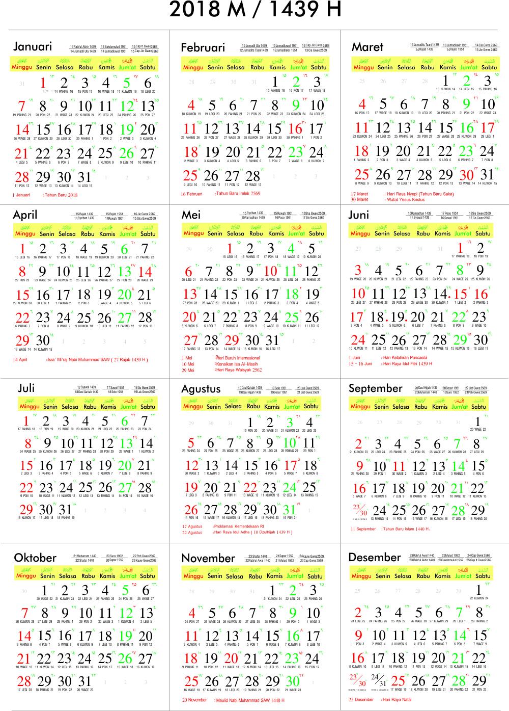 Download File CorelDraw Kalender 2018 Masehi 1439 Hijriyah ...