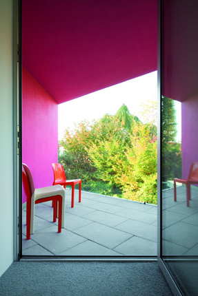 View inside out from The L House by Philippe Stuebi Architekten GMBH