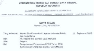 Rekrutmen CPNS Kementerian ESDM 2016