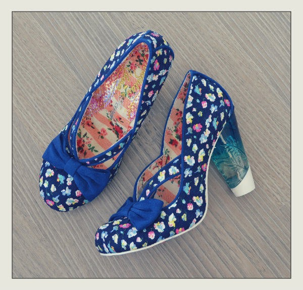Irregular Choice navy ditsy floral shoes with perspex heels