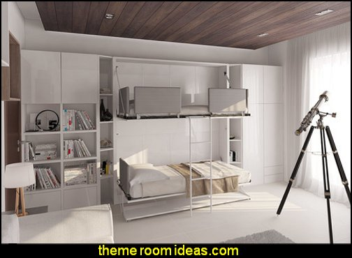 Pensiero Twin Bunk Wall Bed with Table  creative storage