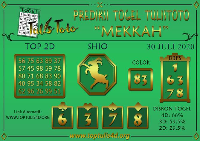 Prediksi Togel MEKKAH TULISTOTO 30 JULI 2020