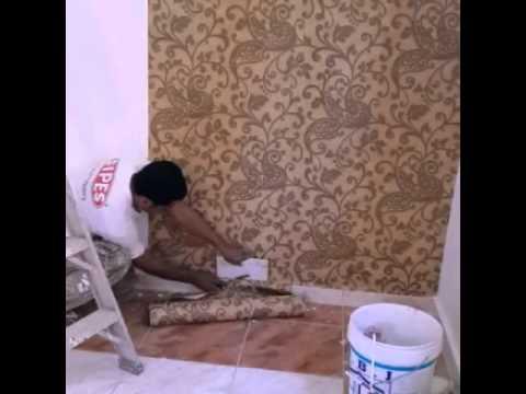 طريقة تركيب ورق الجدران على جدار خشن