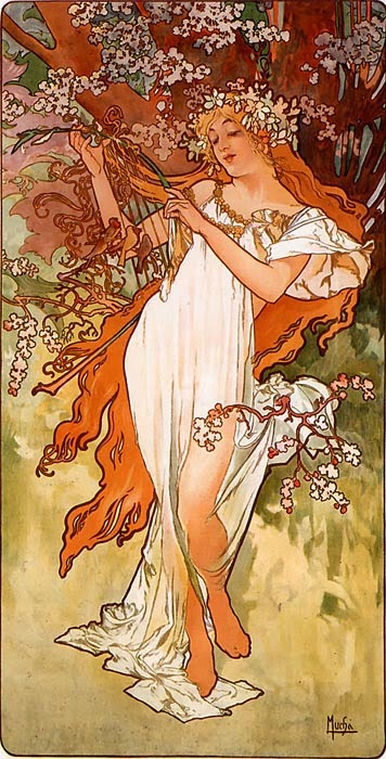 Primavera - Alphonse Mucha e suas principais pinturas ~ (Art Nouveau) Tcheco