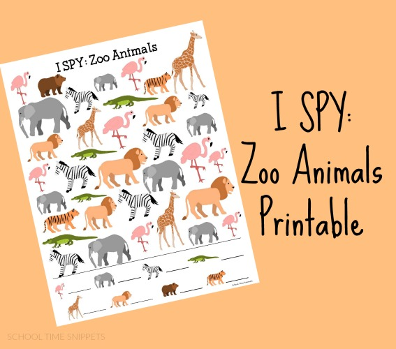 photograph regarding Printable Images of Animals named Zoo Concept I SPY Printable College or university Period Snippets