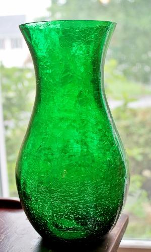 crackle glass vase