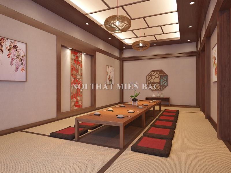 Thiết kế nhà hàng Nhật sử dụng nội thất dáng thấp