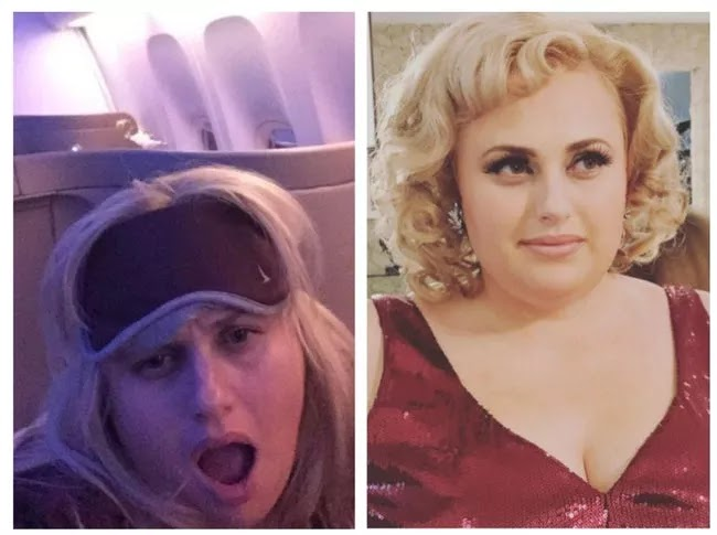 24 Pictures Of Famous Women With And Without Makeup - Rebel Wilson