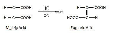 preparation of fumaric acid by boiling maleic acid.