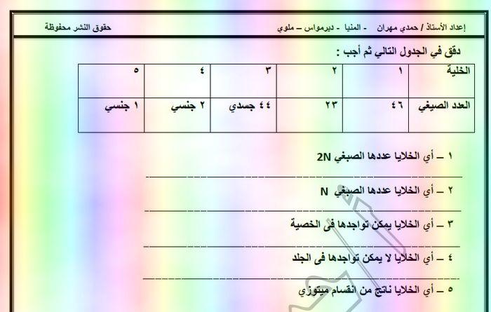 مذكرة امتحانات احياء اولى ثانوى ترم ثانى 2019 - موقع مدرستى