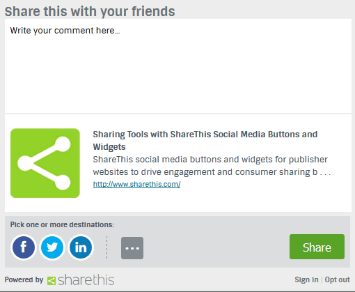 Social Media Sharing Platform provided by Sharethis.com
